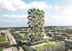 """Stefano Boeri's La Tour des Cedres In Lausanne, Switzerland. There will be 100 cedar trees, 6,000 shrubs and 18,000 plants. """"With the Tower of Cedar Trees we will have the opportunity to realise a plain building that will have a great role in the Lausanne landscape,"""" said Boeri in a statement. """"An architecture even able to introduce a significant biodiversity of vegetal species in the middle of an important European city."""""""