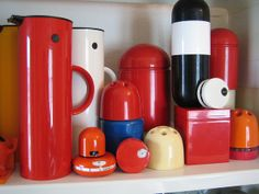Plastic Collection Space Age Design: Artemide Dedalino Teraillon Minitimer Sapper Italora Kartell Container with domed lid, Gedy box Stelton...