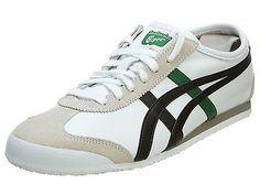 Onitsuka Tiger Mexico 66 Mens D4J2L-0182 White Black Green Running Shoes Sz 7.5