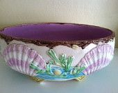 Beautiful Antique English Majolica Shell  Seaweed Bowl with the Mark of W.T.Copeland