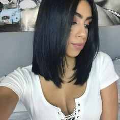 43 Greatest Wavy Bob Hairstyles - Short, Medium and Long in 2019 - Style My Hairs Hair Color For Black Hair, Green Hair, Dark Hair, Short Black Hair, Medium Black Hair, Long Bob Hairstyles, Wig Hairstyles, Black Hair Haircuts, Black Bob Haircut