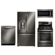 KIT LG Black Stainless Steel 4 Piece Gas Kitchen Appliance Package