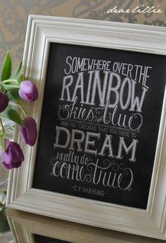 Dear Lillie — Over the Rainbow Chalkboard Print Chalkboard Print, Chalkboard Designs, Chalkboard Ideas, Chalkboard Quotes, Chalk It Up, Chalk Art, Dear Lillie, Easy Entertaining, Rainbow Print