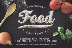Food Typography PSD Actions by Designdell on @creativemarket