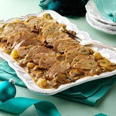 Pork Tenderloin with Marsala Mushroom Sauce Recipe -I served this entree one year for Christmas Eve dinner, and it's now a family favorite. My husband is always happy when we have leftovers because he uses them for sandwiches. Greek Recipes, Pork Recipes, Cooking Recipes, Sausage Recipes, Pork Dishes, Tasty Dishes, Marsala Mushrooms, Greek Cooking, Stuffed Mushrooms