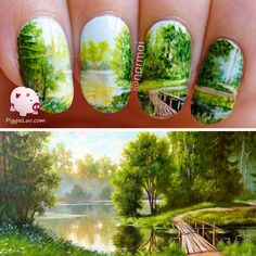 PiggieLuv: Freehand 'Path to serenity' nail art, Continuous design, base on the original painting by a Russian artist named Elena Samarskaya called 'Picture Morning' Love Nails, Pretty Nails, Different Types Of Nails, Elegant Nail Art, City Nails, Nail Art Pictures, Luxury Nails, Gel Nail Designs, Beautiful Nail Designs
