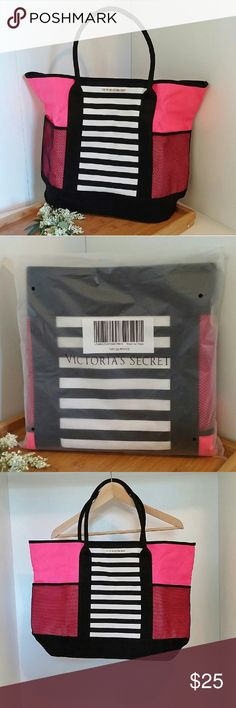 """Victoria's Secret 2016 Island Tote Brand new in packaging (no tags), only taken out of package for photos. Cotton canvas material with two mesh pockets on the exterior. Large interior. No snap or zipper closure. Approximately 22"""" wide x 6-1/2"""" deep x 15"""" high. Victoria's Secret Bags Shoulder Bags"""