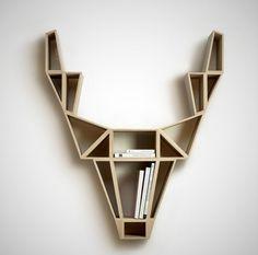 étagère murale design, une tête de cerf