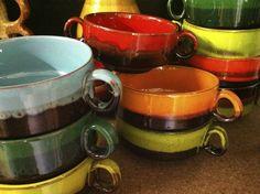 Retro soepkommen keramiek vintage soupbowls