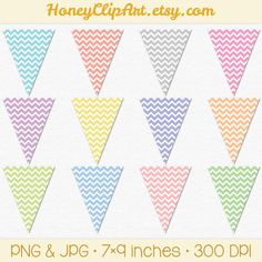 Pastel Chevron Bunting Flags by Honey Clip Art on Etsy #garland #banner #printable #rainbow #kids #baby #decor #party #pennant