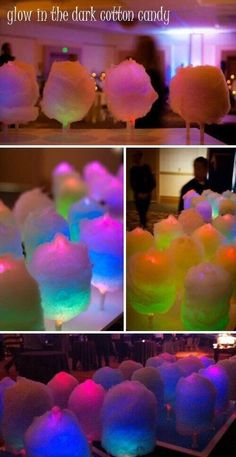 Evening party idea: Put glow sticks in cotton candy. Glow in the dark cotton candy, awesome!!