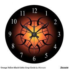 Orange Yellow Black Celtic Crop Circle Large Clock