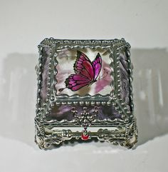 Butterfly Carved Glass Jewelry Box -  Faberge Style by FabergeStyleBoxes on Etsy