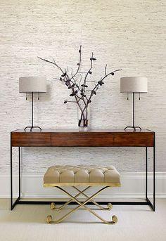 Soho Console Table, SAH8512. http://www.fschumacher.com/products/furnishings/tearsheets/SCH_SAH8512_tearsheet.pdf Veneto Bench, SAH8518. http://www.fschumacher.com/products/furnishings/tearsheets/SCH_SAH8518_tearsheet.pdf #Schumacher