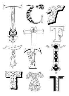"""Designs with the letter """"T""""."""