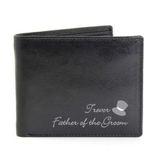 Personalised Father of the Groom Gift - Top Hat Wallet - Olive and Finch Personalised Tops, Personalized Leather Wallet, Wedding Roles, Wedding Thank You Gifts, Father Of The Bride, Groom, Black Leather, Product Description, Hats