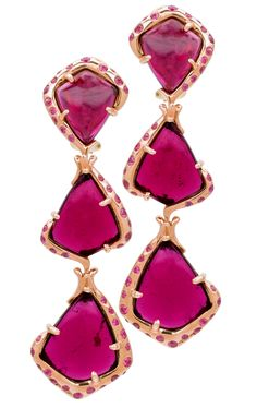 Rubellite and Pink Sapphire Earrings in Pink Gold