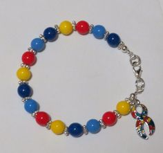 Made with Preciosa Czech Glass beads, silver plated brass findings and lobster clasp. Autism Awareness Bracelet, Beaded Bracelets, Trending Outfits, Unique Jewelry, Handmade Gifts, Etsy, Vintage, Hand Made Gifts, Pearl Bracelets