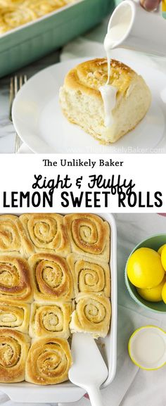 Lemon sweet rolls - buttery, lemony bread rolls glazed with a scrumptiously lemony glaze. Light, fluffy, a perfect springtime treat. #recipe #baking #breakfast #brunch #spring #lemons #dessert