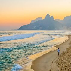 Arpoador Rio de Janeiro - A lonely soul strolling the beach of Ipanema at sunset beautiful colors Dois Irmãos hill in the background.  Arpoador Rio de Janeiro - Um alma solitária passeando pela praia de Ipanema ao pôr-do-sol lindas cores morro Dois Irmãos ao fundo.  #porainorio #rio #mtur #riodejaneiro #rj #021 #carioca #igers #igersrio #igersbrasil #vsco #vscobrasil #brasil #brazil #top #sun #sunset #amazing #sightseeinrio #riolove #ig_beach_brasil #ig_beach #travelrack #amor #romantic…
