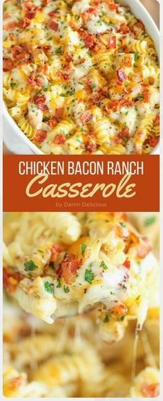 Chicken Bacon Ranch Casserole - Creamy, cheesy and comforting! Loaded with Ranch chicken, homemade alfredo sauce and bacon. Can be made ahead of time! #chicken #bacon #ranch #casserole #easyrecipes