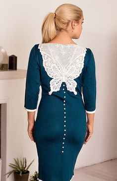 Knitted dress Butterfly fillet lace handmade