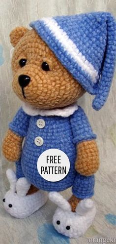 Amigurumi süße Bären Muster – Alle Frei Stricken, Amigurumi Cute Bear Pattern - All Free Knitting, de punto Crochet Teddy Bear Pattern Free, Teddy Bear Patterns Free, Crochet Amigurumi Free Patterns, Crochet Doll Pattern, Knitting Patterns, Crochet Ideas, All Free Knitting, Crochet Mignon, Crochet Doll Clothes