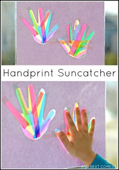 Handprint suncatcher craft for kids - would be perfect as a Mother's Day or Father's Day gift from And Next Comes L fathers day message, fathers day crafts for infants, fathers day centerpieces Diy Father's Day Gifts Easy, Diy Mother's Day Crafts, Father's Day Diy, Summer Crafts, Crafts To Do, Kids Crafts, Kids Diy, Mothers Day Crafts For Kids, Fathers Day Crafts