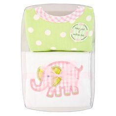 3 Marthas Pink Elephant Boxed Burper & Medium Bib Set! Extremely Adorable!