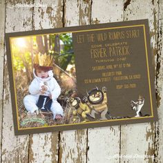 Where the wild things are birthday party invitations or baby shower invitations, digital, printable file (item 224)