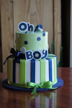 navy blue and green baby shower cakes Green blue chevron Cakes