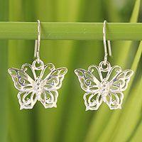 Sterling silver dangle earrings, 'Butterfly Splendor' by NOVICA