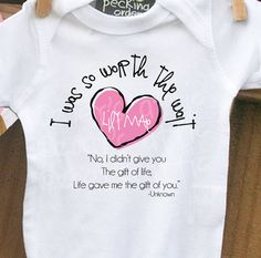 personalized onesie -I Was So Worth the Wait heart adoption quote onesie- adorable way to announce an adoption or makes a great gift on Etsy, $16.50
