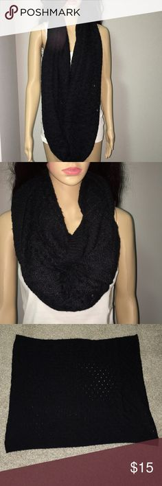 """H&M Black Knit Versatile Infinity Scarf Good Condition  35"""" x 27"""" *Shirt not included H&M Accessories Scarves & Wraps"""