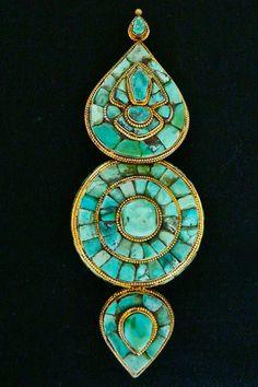 Antique Tibetan Tribal Turquoise Earring