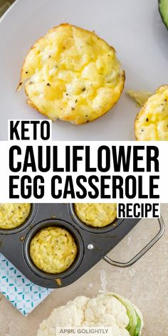 Low Carb Egg Muffins with Cauliflower & Parmesan - April Golightly These low carb muffins are the perfect breakfast meal on the Keto diet - they have cauliflower and parmesan cheese that are baked in the oven. Healthy Low Carb Recipes, Low Carb Dinner Recipes, Healthy Foods To Eat, Diet Recipes, Breakfast Recipes, Diet Breakfast, Breakfast Ideas, Breakfast Gravy, Breakfast Hash