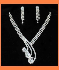 Princess Clear Austrian Rhinestone Necklace Earrings Set Bridal Wedding N55GOLD | eBay