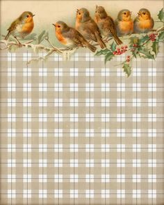 """I Heard a Bird Sing"" ~ 8x10"" image. Robins & holly with gingham pattern."