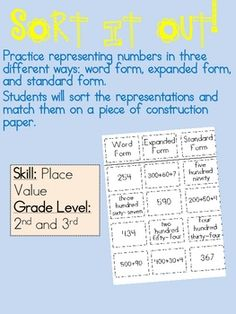 This is a sorting activity made to go along with Chapter 1 of the 2nd grade Math in Focus series.Students practice identifying numbers in stand...