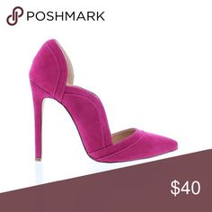 NEW ARRIVAL Magenta Wavy Side Pump The perfect pair of heels to add to your collection of pumps. This magenta pump features a classic pointy toe with a wavy side design. Price is firm.  Heel Height: 4.5 in Material: Faux Suede Fits true to size Shoes Heels