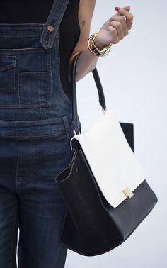 Denim overall, gold arm candy and Celine bag. Via expensivelife My Life Style, Style Me, Karl Lagerfeld, Black And White Bags, Salopette Jeans, Celine Bag, Pret A Porter Feminin, Fitness, Personal Style