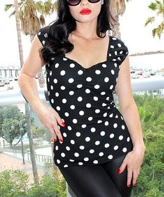 Look what I found on #zulily! Black Polka Dot Sleeveless Top - Plus Too #zulilyfinds