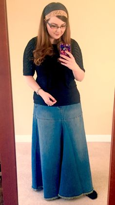 Modestmystiqueblog | Style J Flowing Love Long Denim Skirt. Garlands of Grace Headcovering