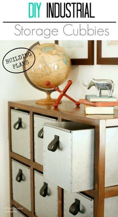 DIY Industrial Style Storage #Cubbies- free #buildingplans! #diyprojects #diyideas #diyinspiration #diycrafts #diytutorial