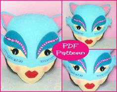 PDF Pattern  Cat Masquerade Felt Plush Doll by EmmaIrlamCrafts