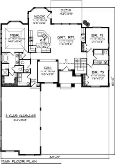 First Floor Plan of Ranch   Traditional   House Plan 73141.        2065 sq. ft.