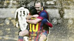 Messi and Iniesta <3