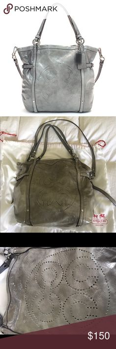 Authentic Coach Grey Audrey Andie Cinched Tote Bag Authentic Coach Grey Patent Leather Audrey Andie Tote Bag • Great condition • Comes with dust bag • I photographed the serial number for verification • smoke free home Coach Bags Totes