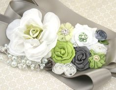 Bridal Sash in Lime Green, White, Silver and Grey with Handmade Flowers, Pearls… Wine Wedding Dresses, Wedding Dress Sash, Bridal Sash, Bridal Dresses, Outdoor Wedding Decorations, Wedding Themes, Wedding Colors, Our Wedding, Wedding Ideas