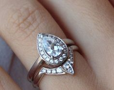 Third Eye Pear Diamond Engagement Ring with by SillyShinyDiamonds